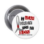 Diabetes I Wear Grey For My Son 37 Pinback Button