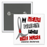 Diabetes I Wear Grey For The Cure 37 Buttons
