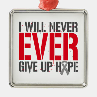 Diabetes I Will Never Ever Give Up Hope Silver-Colored Square Decoration