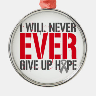 Diabetes I Will Never Ever Give Up Hope Round Metal Christmas Ornament