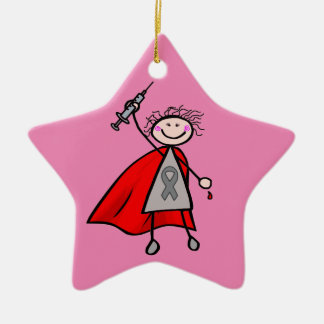 Diabetes Insulin Superhero Girl Ceramic Star Decoration