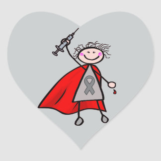Diabetes Insulin Superhero Girl Heart Sticker