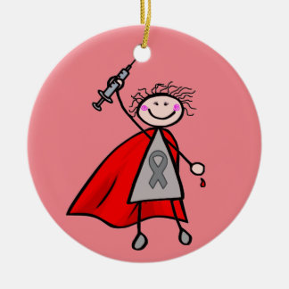 Diabetes Insulin Superhero Girl Round Ceramic Decoration