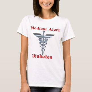 Diabetes Medical Alert Silvear Asclepius Caduceus T-Shirt
