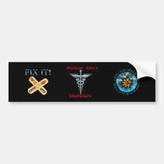 Diabetes Medical Alert Silver Rod & Snakes Bumper Sticker
