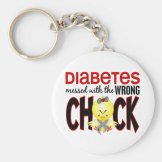 Diabetes Messed With The Wrong Chick Basic Round Button Key Ring
