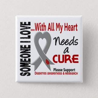 Diabetes Needs A Cure 3 15 Cm Square Badge