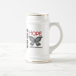 Diabetes Never Give Up Hope Butterfly 4.1 Beer Steins