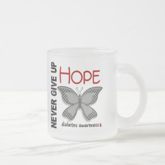 Diabetes Never Give Up Hope Butterfly 4.1 Frosted Glass Mug