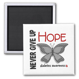 Diabetes Never Give Up Hope Butterfly 4.1 Square Magnet