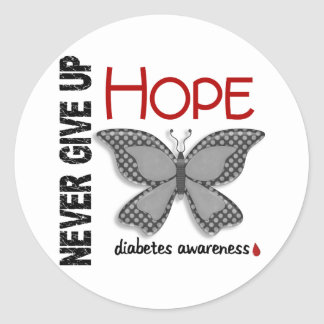 Diabetes Never Give Up Hope Butterfly 4 1 Round Sticker