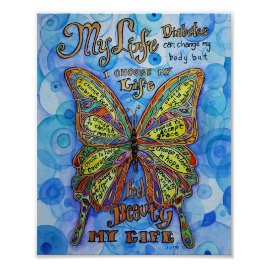Diabetes Rainbow Butterfly Painting Art Posters