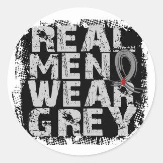Diabetes Real Men Wear Grey Classic Round Sticker
