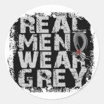 Diabetes Real Men Wear Grey Round Stickers