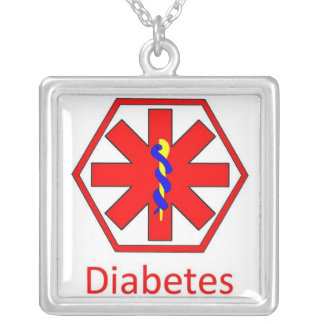 diabetes silver plated necklace