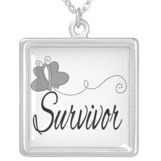 Diabetes Survivor Butterfly Ribbon Square Pendant Necklace