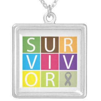 Diabetes Survivor Colorful Tiles Square Pendant Necklace
