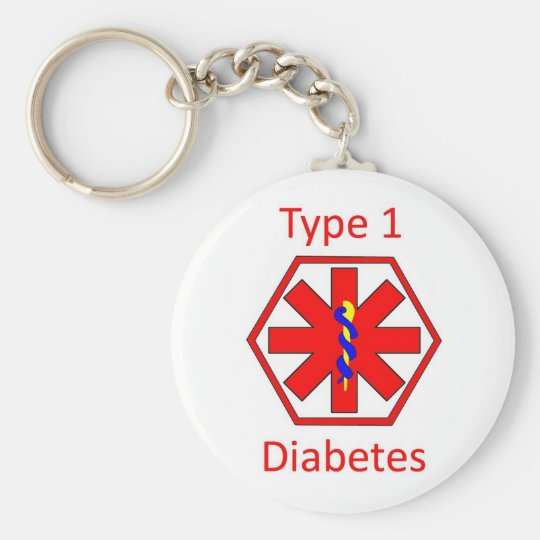 Diabetes symbol basic round button key ring