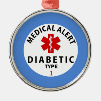 DIABETES TYPE 1 Silver-Colored ROUND DECORATION
