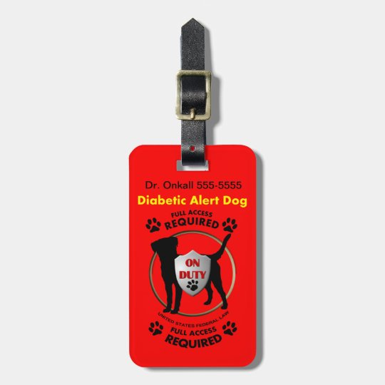 Diabetic Alert Personalised Dog ID Luggage Tag