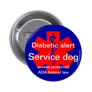Diabetic alert service dog pin