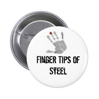 diabetic, Finger Tips of Steel 6 Cm Round Badge