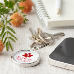 Diabetic Medical Information Silver-Colored Round Key Ring