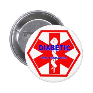 DIABETIC ORAL MEDICATION ID SYMBOL 6 CM ROUND BADGE
