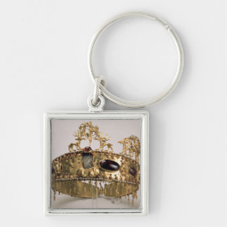 Diadem, found in the burial mound at Khoklach Silver-Colored Square Key Ring