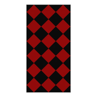 Diag Checkered - Black and Dark Red Personalised Photo Card