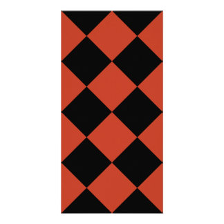 Diag Checkered Large - Black and Dark Pastel Red Photo Card Template