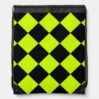 Diag Checkered Large-Black and Fluorescent Yellow Backpacks