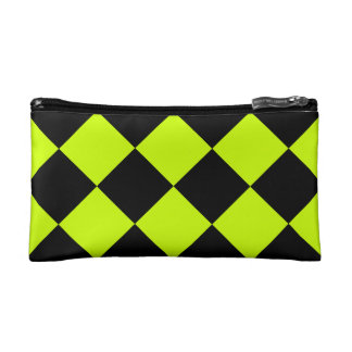 Diag Checkered Large-Black and Fluorescent Yellow Cosmetic Bags