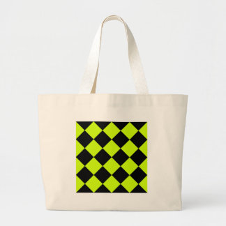 Diag Checkered Large-Black and Fluorescent Yellow Jumbo Tote Bag