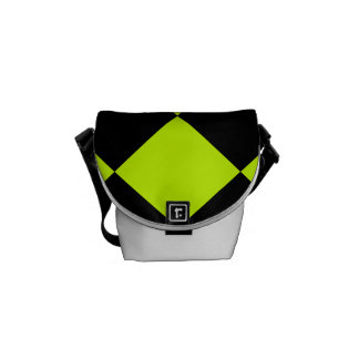 Diag Checkered Large-Black and Fluorescent Yellow Messenger Bags