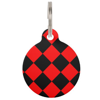 Diag Checkered Large - Black and Red Pet Name Tag