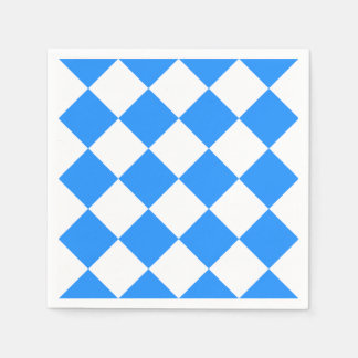 Diag Checkered Large - White and Dodger Blue Disposable Napkins