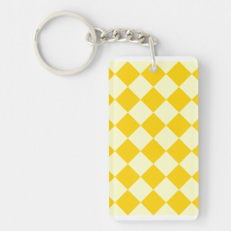 Diag Checkered - Light Yellow and Dark Yellow Double-Sided Rectangular Acrylic Key Ring