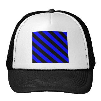 Diag Stripes - Black and Blue Mesh Hats