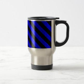 Diag Stripes - Black and Blue Coffee Mugs