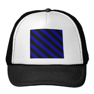 Diag Stripes - Black and Dark Blue Hats