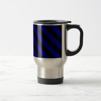 Diag Stripes - Black and Dark Blue Coffee Mugs