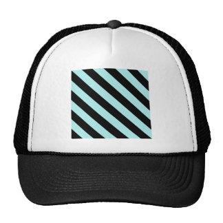 Diag Stripes - Black and Pale Blue Mesh Hats