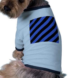 Diag Stripes - Black and Royal Blue Doggie Tshirt