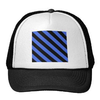 Diag Stripes - Black and Royal Blue Mesh Hats