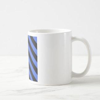 Diag Stripes - Black and Royal Blue Mug