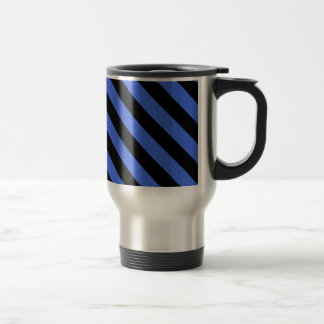 Diag Stripes - Black and Royal Blue Mugs
