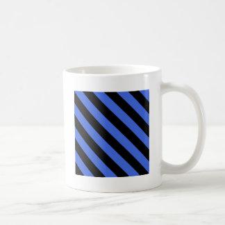 Diag Stripes - Black and Royal Blue Coffee Mugs