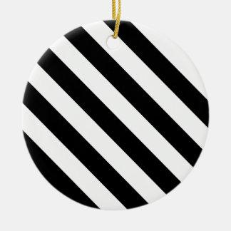 Diag Stripes - White and Black Christmas Ornaments