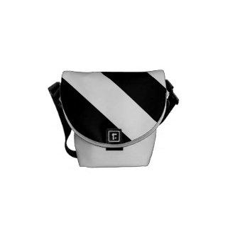 Diag Stripes - White and Black Courier Bag